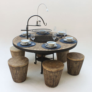 Braai Table with Accessories and Round Stripe Stools